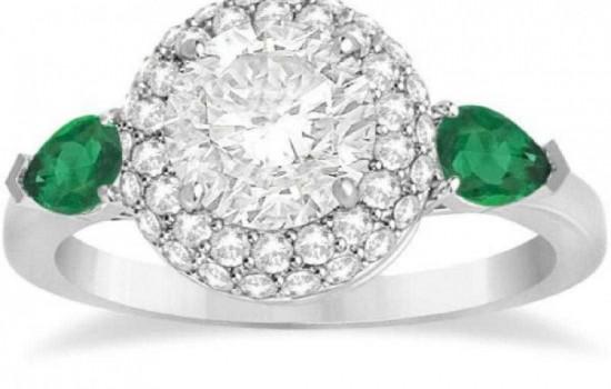 Pear Cut Emerald and Diamond Engagement Ring Platinum