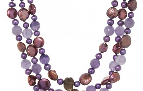 Brand New Necklace With Precious Stones - Genuine Freshwater Pearls
